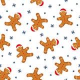 De peperkoekmens is verfraaid in van de Kerstmishoed naadloze textuur als achtergrond vector illustratie