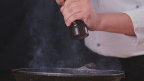 De pepervoedsel van de chef-kok` s hand stock footage