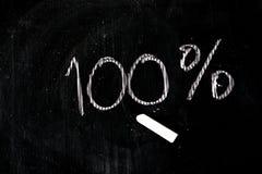 de 100-percenten titelen geschreven met een krijt Royalty-vrije Stock Afbeelding