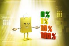De percenten van conceptenfinanciën met het winkelen zak Royalty-vrije Stock Fotografie