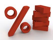 De percenten van de baksteen Stock Foto