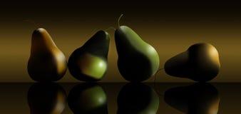 De peren, worden geel en groen gezien in deze 3-D illustratie met dramatische rustige verlichting stock illustratie