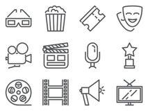 De perfecte pictogrammen van het bioskooppixel Reeks lijnpictogrammen van 3D echte glazen, pop graan, kaartjes, camera, beloning, stock illustratie
