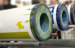 De pers van de compensatie/van flexo voor etiketten (detail) Stock Afbeeldingen