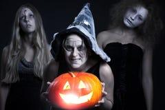 De personages van Halloween over donkere achtergrond Stock Afbeeldingen
