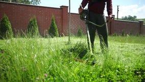 De persoon is een tuinman, snijdt een hoog groen gras, een benzinemaaimachine, op een zonnige dag stock videobeelden