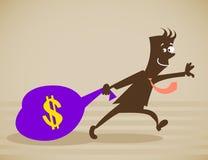 De persoon sleept een zak geld Stock Afbeeldingen