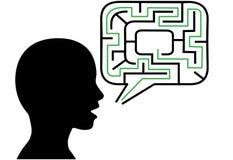 De persoon van het raadsel spreekt de bellenoplossing van de labyrinttoespraak Stock Foto