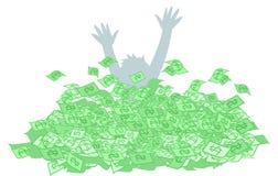 De persoon verdrinkt in geldcontant geld royalty-vrije stock foto