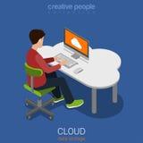 De persoonlijke opslag die van wolkengegevens vlakke 3d vector isometrisch gegevens verwerken Stock Foto