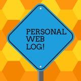 De Persoonlijke Weblog van de handschrifttekst Concept dat website betekent die agenda van informatie of advies Lege Diamant beva vector illustratie