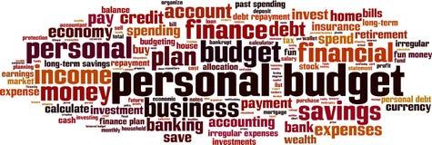 De persoonlijke wolk van het begrotingswoord royalty-vrije illustratie