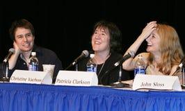 De Persoonlijkheden van de Indiefilm: Sam Rockwell, Christine Vachon, en Patricia Clarkson stock foto's