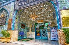 De Perzische spiegelpatronen van het Heilige Heiligdom van Emamzadeh Zeyd in Royalty-vrije Stock Afbeelding