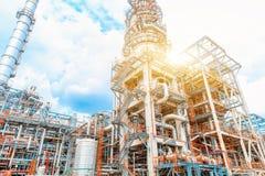 De petrochemische olieraffinaderij, van de Raffinaderijolie en van het gas industrie, het materiaal van olieraffinage, Close-up v Royalty-vrije Stock Fotografie