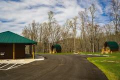 De peulcabines en Bathhouse bij onderzoeken Park, Roanoke, Virginia, de V.S. royalty-vrije stock foto's
