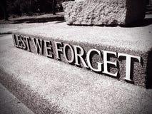 De peur que nous oubliions Photos libres de droits