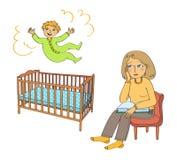 De peuter springt in het bed en de moeder is droevig Royalty-vrije Stock Afbeeldingen