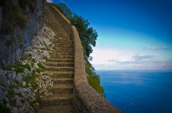 De Phoenecian-Stappen op Eiland Capri, Italië, van de Phoenecian-Stappen en Anacapri. Stock Fotografie