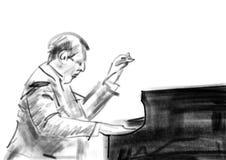 De pianist speelt de piano Houtskooltekening stock illustratie