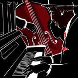 De piano en de dubbel-baarzen van de jazz Stock Foto's