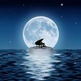 De piano en de maan Stock Afbeeldingen