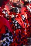 De piccolofluitspeler van Bazel Carnaval 2019 in rood kostuum royalty-vrije stock foto