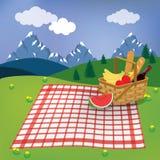 De picknick in de berg is de lente vector illustratie