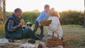 De picknick op zonsondergangachtergrond, jongen kust grootouderzitting op plaid met mand dichtbij hond en egel stock video