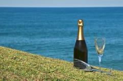 De Picknick van Champagne op de landtong. Royalty-vrije Stock Afbeeldingen