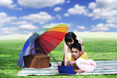 De picknick van het paar met laptop Stock Fotografie
