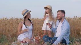 De picknick van de weekendfamilie, gelukkige jonge moeder kijkt en richt naar kant sprekend aan echtgenoot en weinig dochter tijd stock video