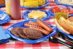 De picknicklijst van de zomer die met voedsel wordt geladen Royalty-vrije Stock Foto's