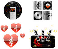 De pictogram-illustratie-vector van de muziek pictogrammen Royalty-vrije Stock Foto's