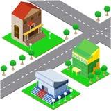De pictogrammen bouw en straat in isometrisch Royalty-vrije Stock Foto