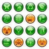 De pictogrammen/de knopen van de ecologie Stock Afbeelding