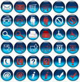 De Pictogrammen/de Knopen van het Omvergooien van het Web Stock Afbeeldingen