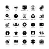 De pictogrammen die van het bedrijfsgeldcontact van het het onderzoeksidee van de analysetijd de media van de het inkomensbank de stock illustratie