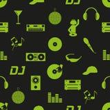 De pictogrammen donker naadloos patroon eps10 van DJ van de muziekclub Royalty-vrije Stock Afbeelding