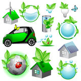 De pictogrammen en de concepteninzameling van Eco Royalty-vrije Stock Afbeeldingen