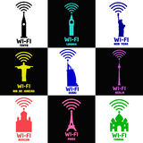 De pictogrammen en de emblemen van de vastgestelde WiFi-stad Stock Foto