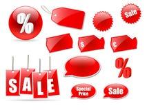 De pictogrammen en de etiketten van de verkoop Royalty-vrije Stock Foto