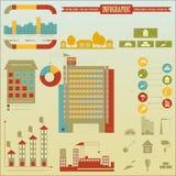 De pictogrammen en de grafiek van de bouw Stock Foto's