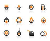 De pictogrammen en de grafiek van de brandstof stock illustratie