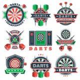 De pictogrammen en de kentekens van pijltjestoernooien voor sportclubs Royalty-vrije Stock Foto's