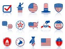 De pictogrammen en de knopen van de verkiezing Royalty-vrije Stock Afbeelding