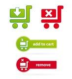 De pictogrammen en de knopen van het boodschappenwagentje Royalty-vrije Stock Foto