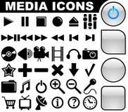 De pictogrammen en de knopen van media Stock Foto's