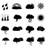 De pictogrammen en de symbolen van het weer Stock Fotografie