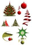 De pictogrammen en de symbolen van Kerstmis Stock Afbeeldingen